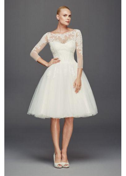 Truly zac posen 3 4 sleeve short wedding dress davids bridal for Zac posen short wedding dress