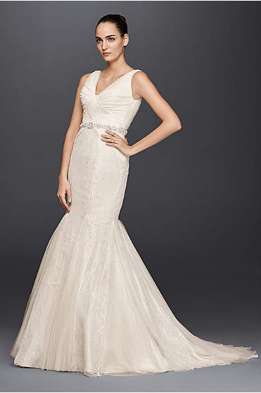Truly Zac Posen Pleated Mermaid Wedding Dress