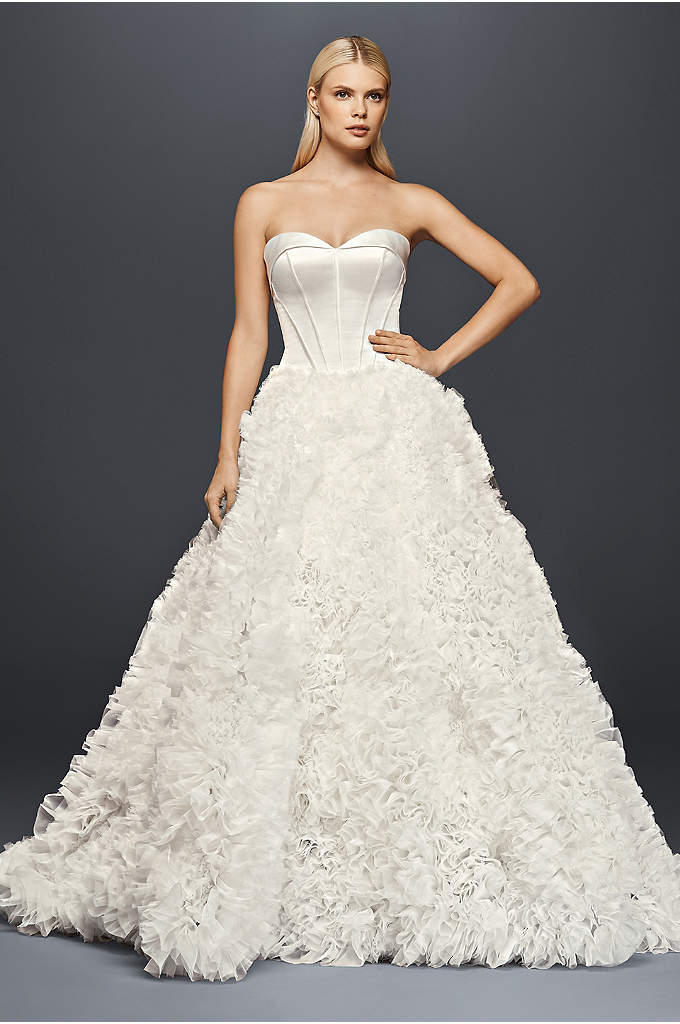 Truly zac posen ruched v neck satin wedding dress davids for Truly zac posen wedding dress with sequin detail
