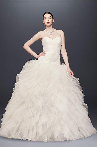 Truly Zac Posen Drop-Waist Tulle Wedding Dress