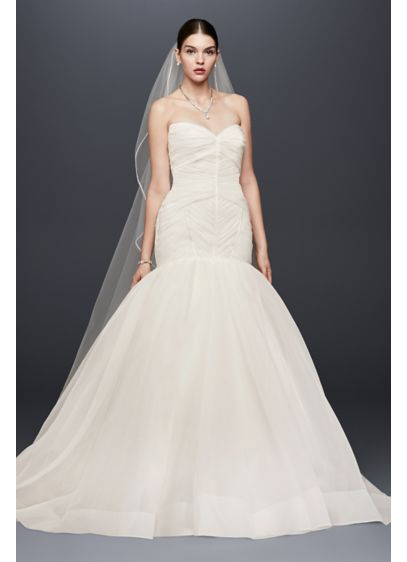 Truly zac posen pleated organza wedding dress david 39 s bridal for Truly zac posen wedding dress with sequin detail