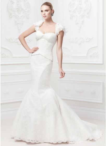 Truly zac posen flutter sleeve wedding dress david 39 s bridal for Zac posen wedding dresses sale