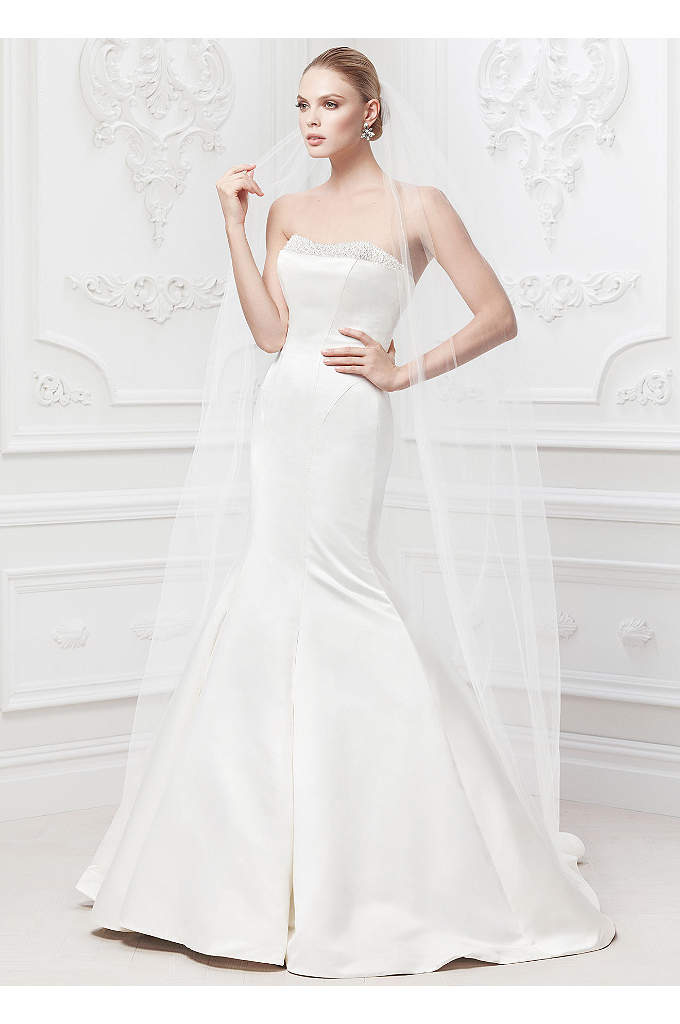 Truly Zac Posen Wedding Dress with Pearl Details - Understated elegance and romantic detailing makes this satin
