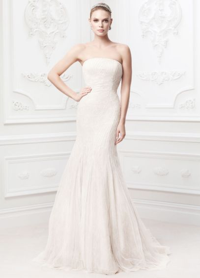 Strapless Soft Chantilly Gown with Embroidery ZP345017
