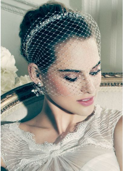 Russian Tulle Blusher with Crystals - Wedding Accessories