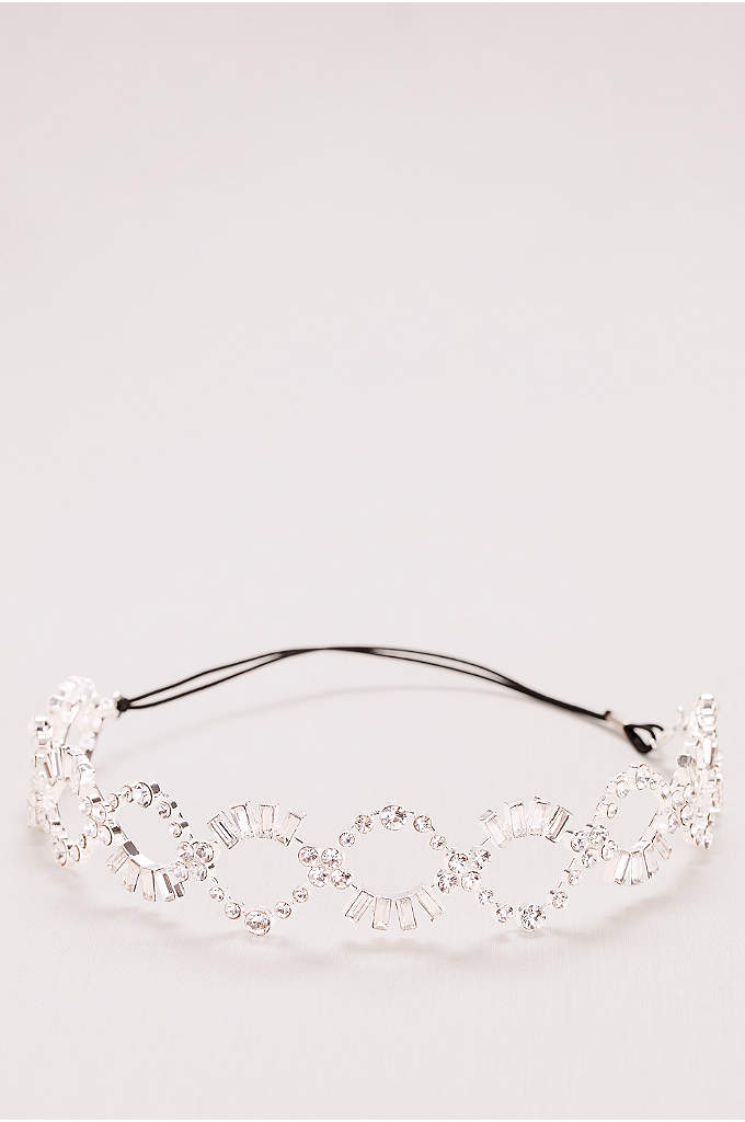 Baguette Crystal Braided Headband - Baguette-cut crystals form a twinkling helix on this