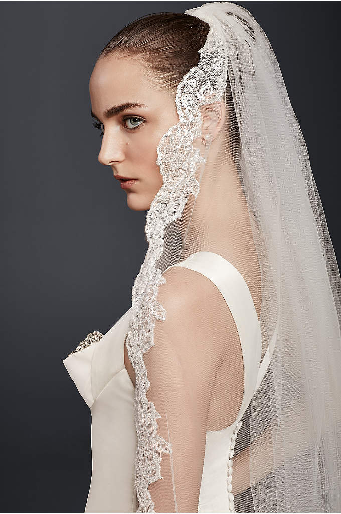 Cathedral Veil with Sequin Lace - Make a dramatic entrance in a cathedral veil