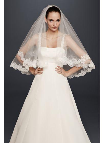 Two Tier Sequin Lace Applique Fingertip Veil - Wedding Accessories