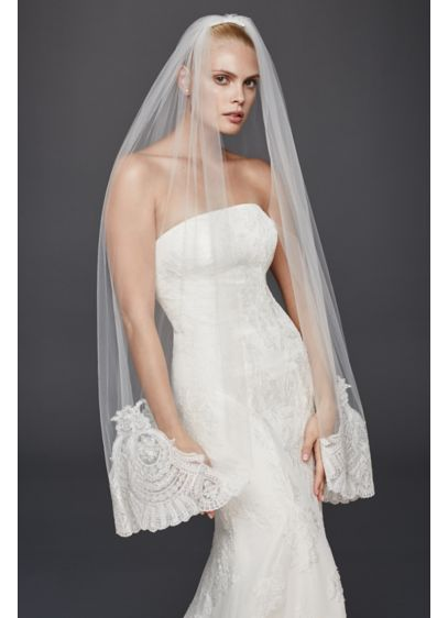 Truly Zac Posen Extreme Border Mid Veil - Wedding Accessories
