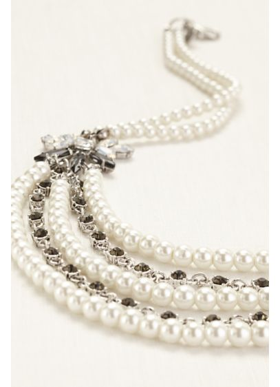 Pearl and Crystal Draped Necklace - Wedding Accessories