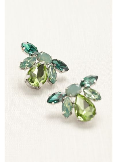Tear Drop Studs in Shades of Emerald - Wedding Accessories