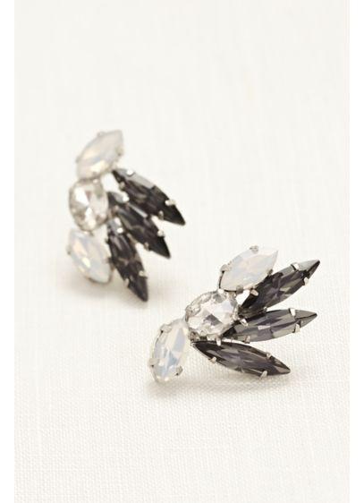 Pointed Crystal Stud Earrings - Wedding Accessories