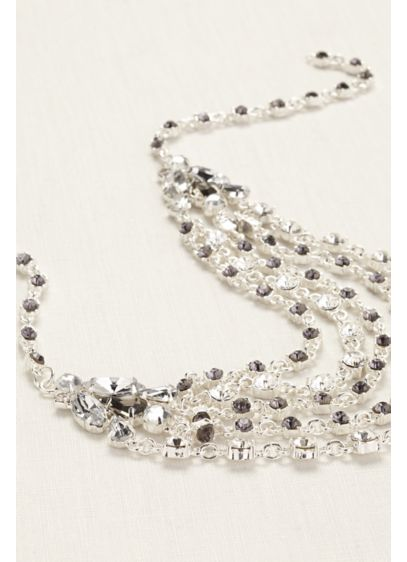 Multi Strand Crystal Chain Necklace - Wedding Accessories