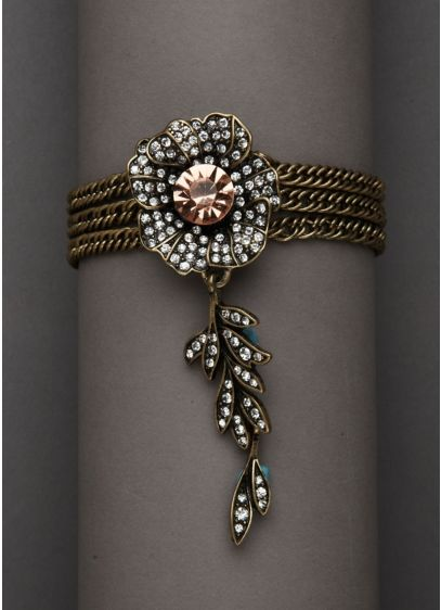Floral Bracelet with Leaf Design Accent - Wedding Accessories