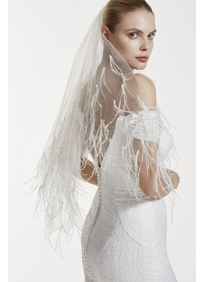 Truly Zac Posen Two Tiered Feather and Pearl Veil - Wedding Accessories