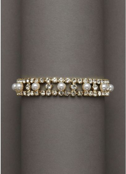 Crystal and Pearl Alternating Stretch Bracelet - Wedding Accessories