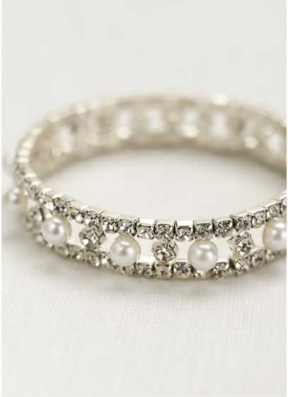 Pearl and crystal alternating stretch bracelet. - Wedding Accessories