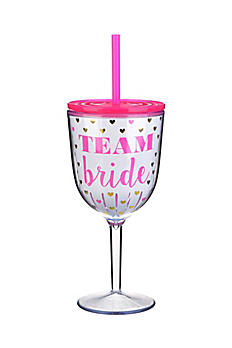 Team Bride Hearts Wine Glass F162071
