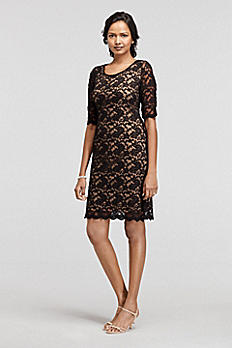 3/4 Sleeve Illusion Lace Sheath Dress T0830413M1