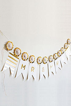 Gold Foil Mr. and Mrs. Pennant Banner T127