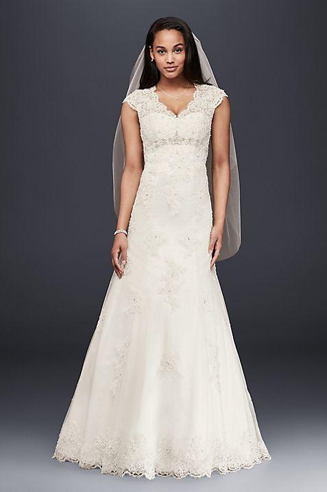 Cap Sleeved Lace Wedding Dress with Empire Waist | David\'s Bridal