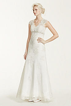 Cap Sleeve Lace Over Satin Wedding Dress T3299