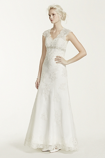 Cap Sleeve Lace Over Satin Gown with Illusion Back T3299