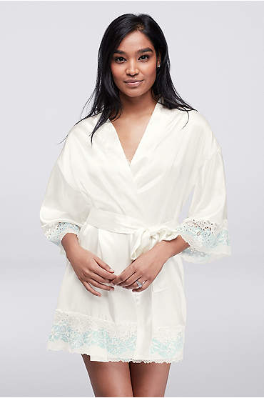 Short ivory silky robe with blue lace trim