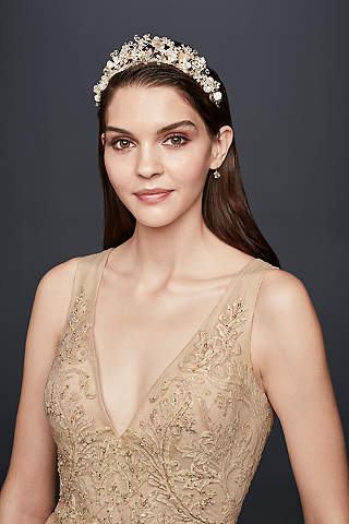 Hair accessories and headpieces for weddings and all occasions botanical blooms crystal embellished tiara junglespirit Image collections