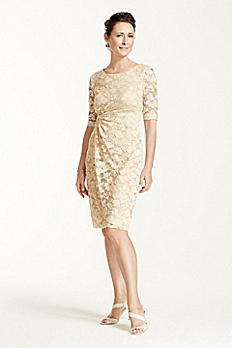 3/4 Sleeve Stretch Lace Short Dress TBD70433M1