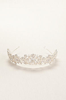 Light Colored Tiara with Pearls and Crystals TCMB518