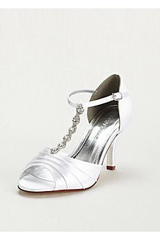 Dyeable Mid Heel Crystal T Strap Sandal TIA
