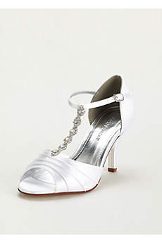David's Bridal White Sandals (Dyeable Mid Heel Crystal T Strap Sandal)