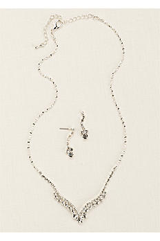 Curved V-Shape Crystal Necklace and Earring Set TL-0434