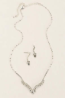 Curved V-Shape Crystal Necklace and Earring Set