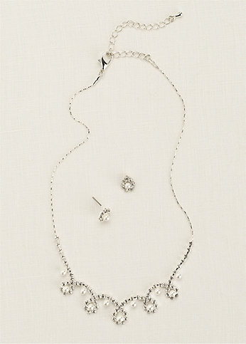 Classic Pearl and Crystal Necklace and Earring Set TL1432
