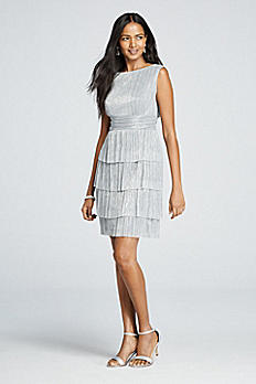 Metallic Sleeveless Dress with Tiered Skirt TN280384M1