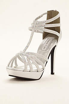 Touch Ups Grey Sandals (Toni T-Strap Cage Platform Sandal by Touch Ups)