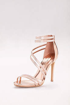 Anne Michelle Pink Sandals (Crystal-Embellished Double-Strap Stiletto Sandals)