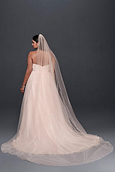 Metallic-Edged Whisper Pink Cathedral Veil V101L
