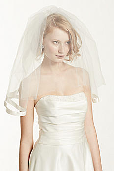 Satin Veil with Ribbon Trim and Blusher V123