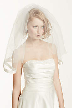 Satin Veil with Ribbon Trim and Blusher