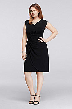 Plus Size Work Dress with Cap Sleeves V1310505L1