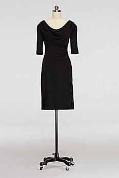 Short Cowl Neck Dress with Elbow Length Sleeves V1310964M1