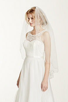 One Tier Fingertip Floral Embroidered Veil V186