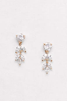 Solitaire and Marquise-Cut Cubic Zirconia Earrings
