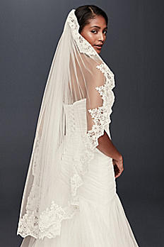 Corded Lace Fingertip Veil with Sequins V2012