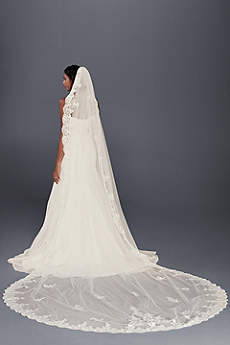 Floral Lace Cathedral Veil with Appliques