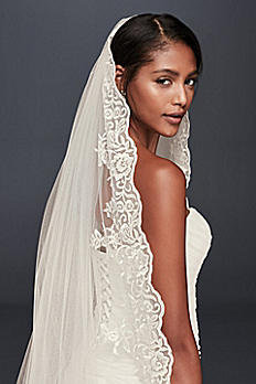 Floral Lace Cathedral Veil with Appliques V2014