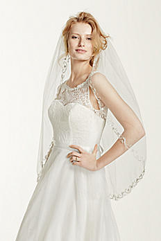 One Tier Mid Veil with Swirl Embellishment V206
